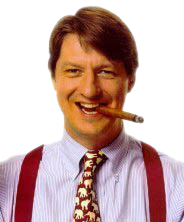 P.J. O'Rourke, replete with cigar and obnoxiously confident grin